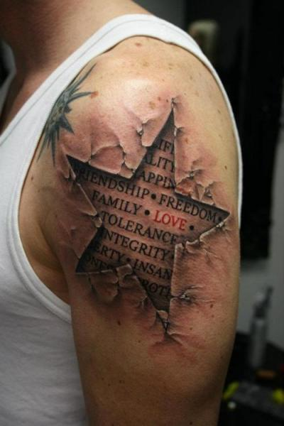 Latest New Upper Sleeve Coolest Wording 3D Star Tattoo