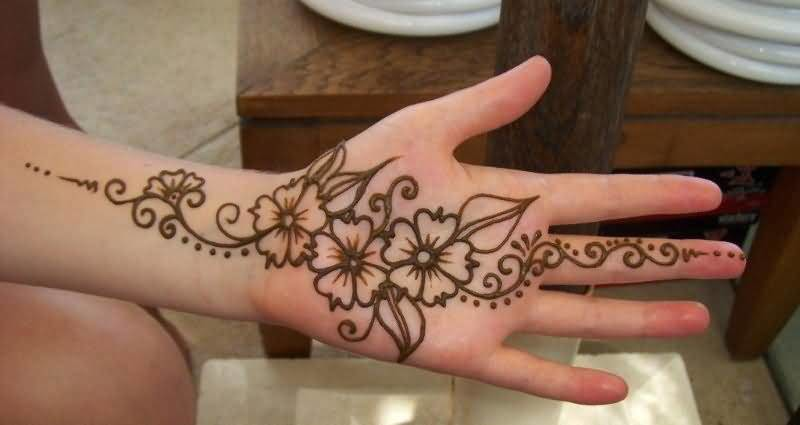 Cool Henna Flower Tattoo Design For Cool Hand