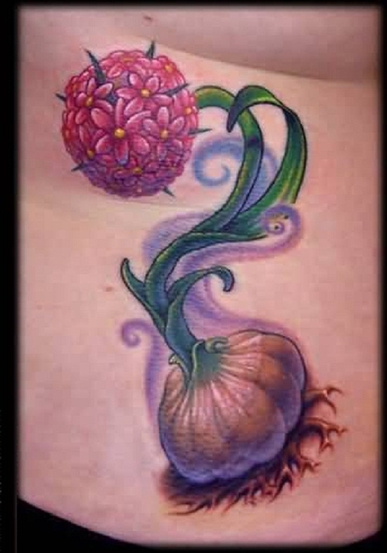 Lovely Nice Flowers And Great Looking Garlic Tattoo