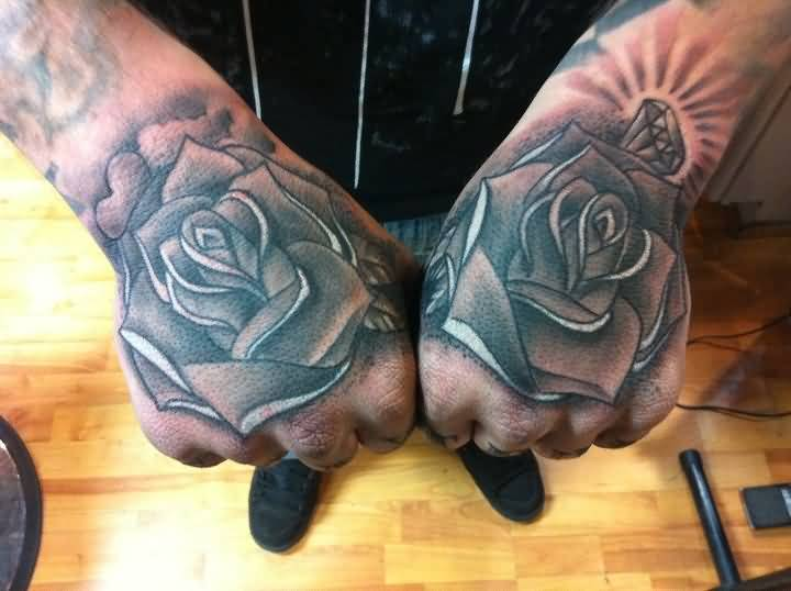 Lovely Rose Flowers Tattoo Design Image Make On Both Hands