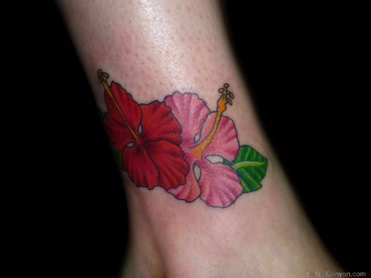 Lovely Simple Hibiscus Flower Tattoo Design Image Make On Ankle