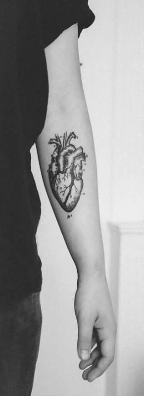 Lower Sleeve Cover Up With Black And White Real Heart Tattoo