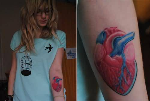 Lower Sleeve Cover up With Outstsanding Real Heart Tattoo For Cool Women