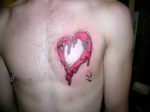 Men Chest Cover Up With Classy Melting Heart Tattoo