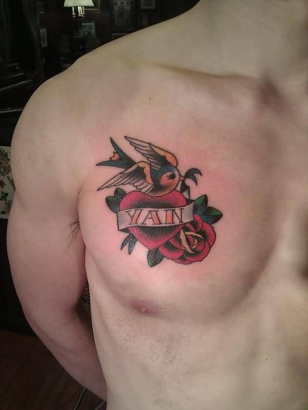Men Chest Decorated With Classy Cool Yan Banner Heart Tattoo