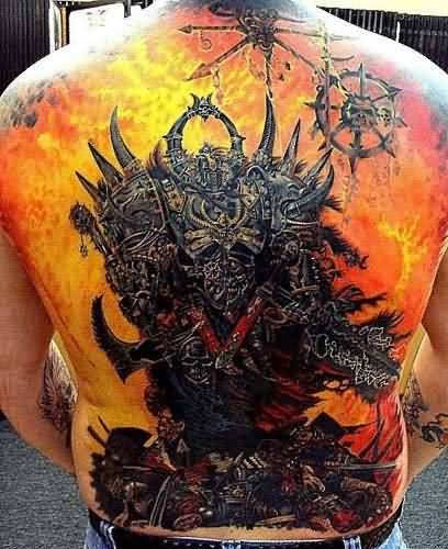 Men Full Back Cover Up Flaming Horror Tattoo