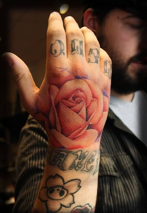 Men Show Brilliant Rose Flower Tattoo Design Image Make On Hand