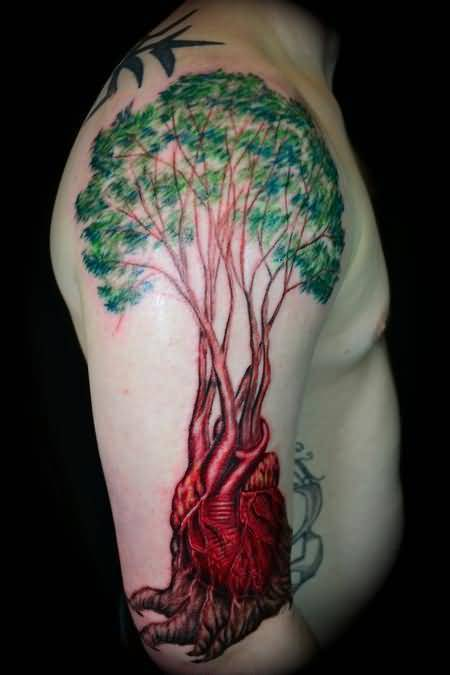 Men Upper Sleeve Cover Up With Simple Tree Heart Tattoo