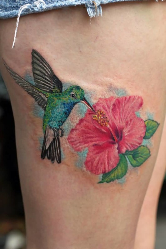 Mind Blowing Hibiscus Flower Tattoo Design Image Make On Thigh
