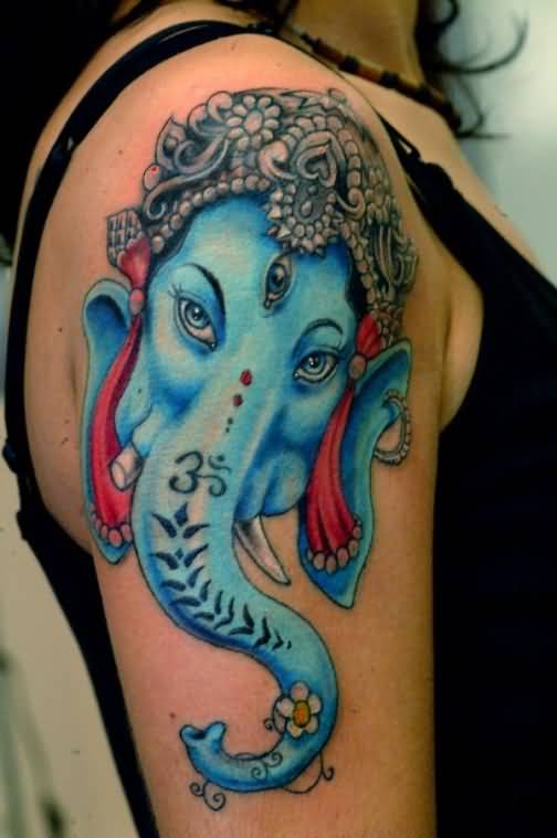 Nice One Hinduism Ganesha Face Tattoo Image Make On Upper Sleeve