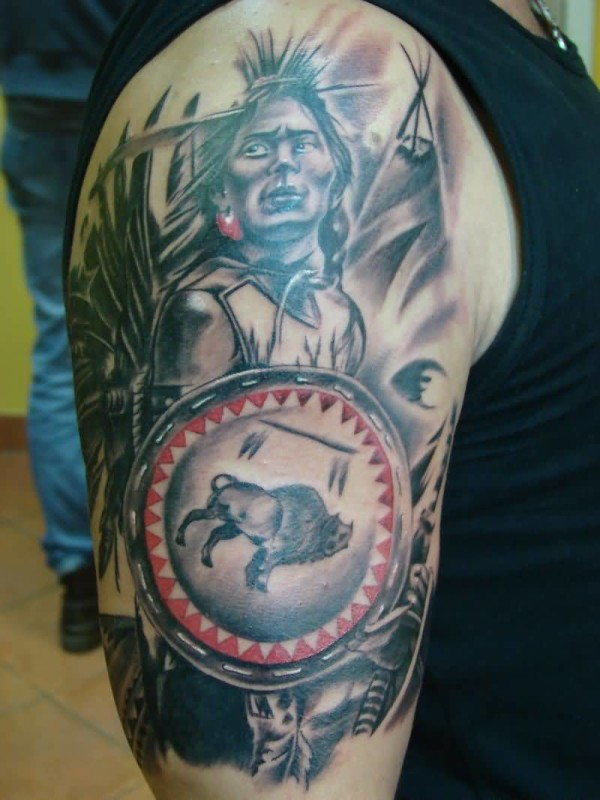 Cool bicep indian warrior girl tattoo on upper sleeve for Native american warrior tattoos
