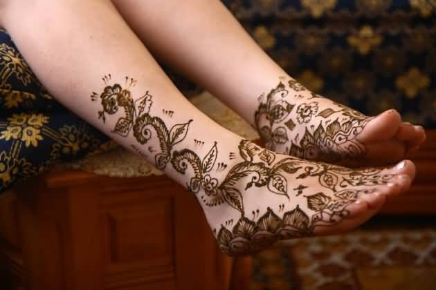 One More Beautiful Henna Flower Tattoo Design Image Make On Foot