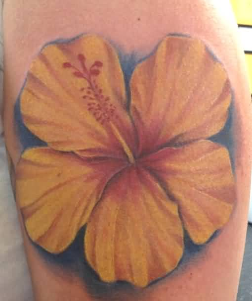 Yellow Classy Cool Hibiscus Flower Tattoo Design Image