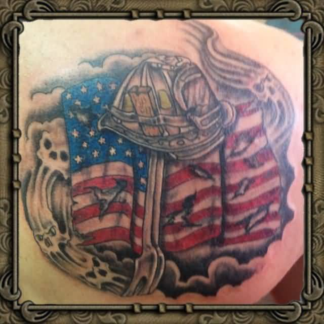 Popular American Flag With Simple Army Gun And Helmet Tattoo On Upper Side Back