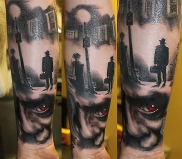Red Eye Horror Tattoo Design Image Make On Men's Lower Sleeve