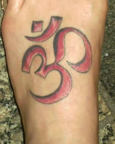 Red Ink Coolest Simple Hinduism Om Symbol Tattoo Design Cool Image