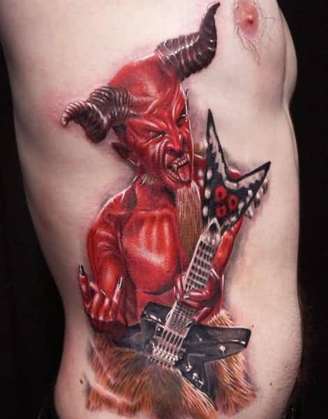 Red Ink Dangerous Horror With Guitar Tattoo On Men's Rib Side