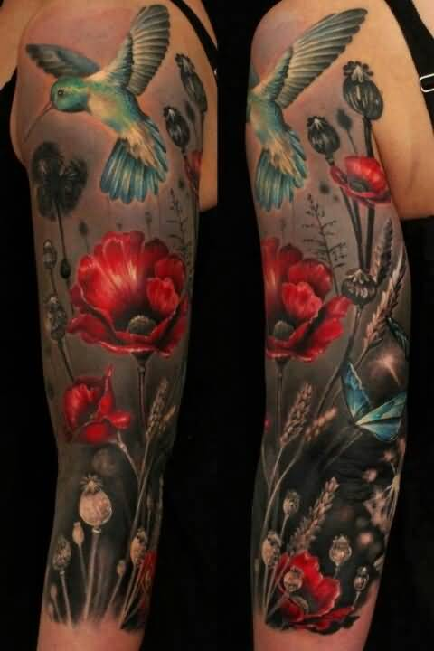 Red Rose And Full Sleeve Cover Up Flying Hummingbird Tattoo