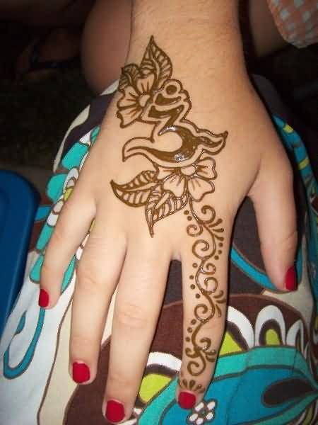 Religious Henna Hand Tattoo Of Om Symbol With Lovely Flower