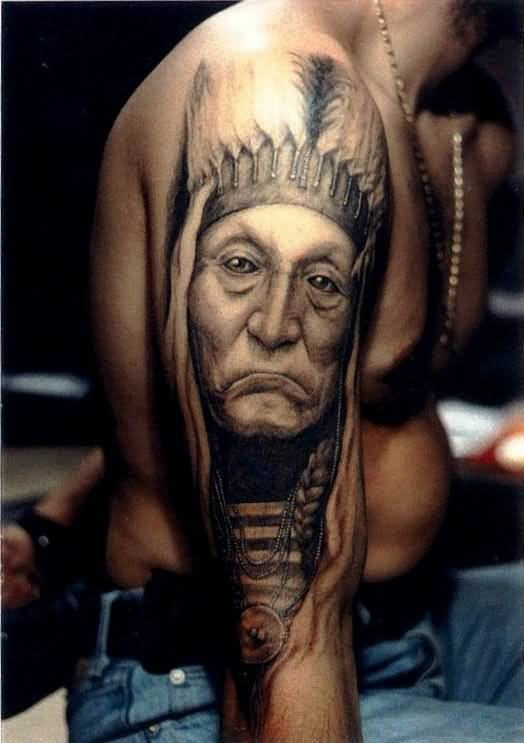 Sad Upper Sleeve Native Indian Face Tattoo