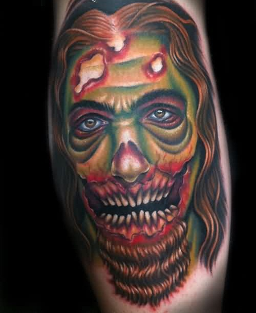 Scary Angry Zombie Face Tattoo Image