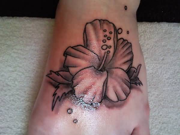 Shining Awesome Hibiscus Flower Tattoo On Foot