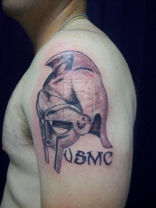 Simple 3D Helmet Tattoo Design Image Make On Upper Sleeve