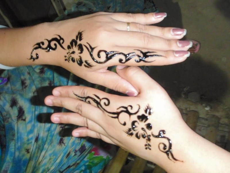 Simple Black Ink Coolest Awesome Tribal Matching Hand Henna Tattoo