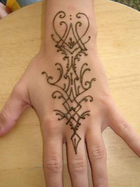 Simple Henna Tattoo Design For Cool Hand