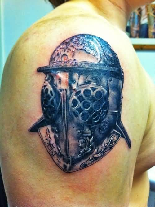 Simple Upper Sleeve Helmet Tattoo Design For Cool Men