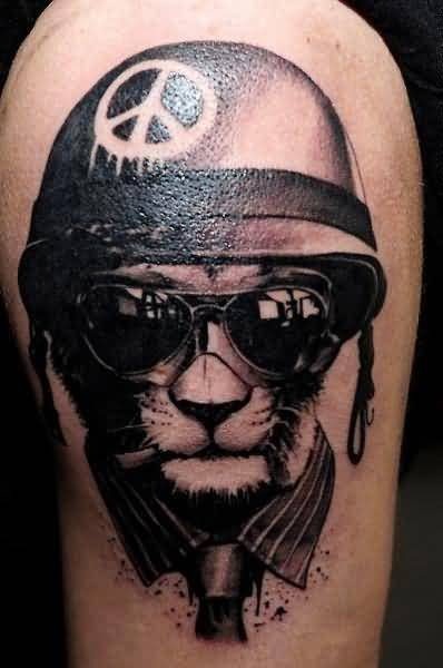 Stylish Crazy Cool Cat Wearing 3D Helmet Tattoo