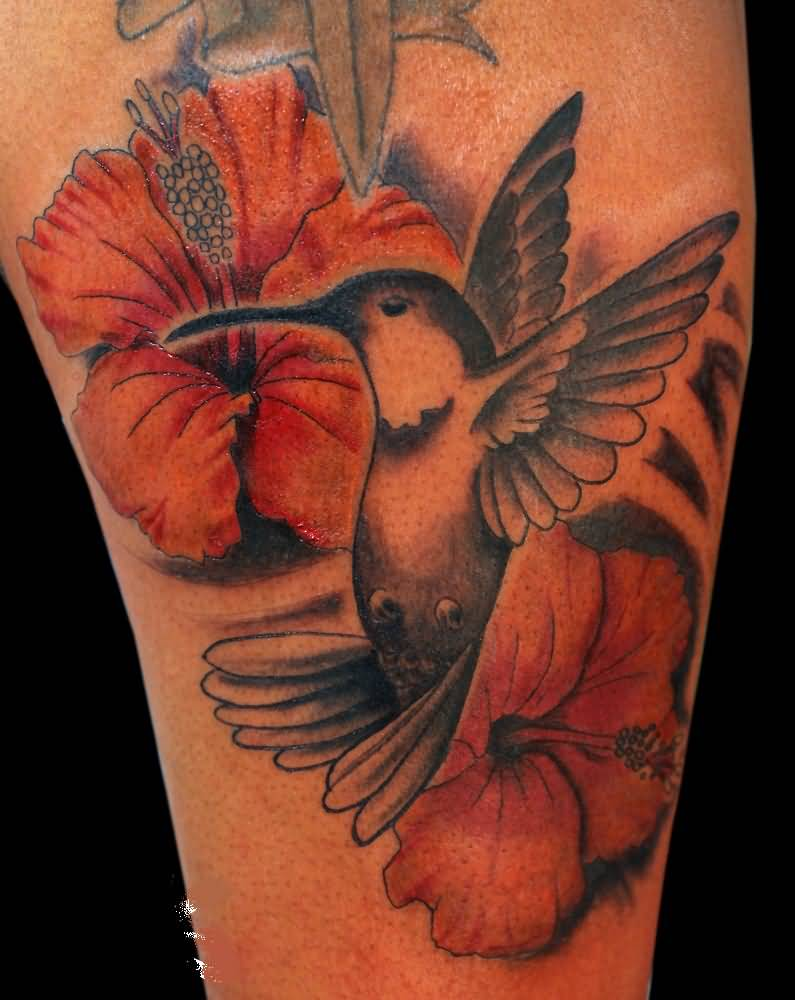 Hibiscus flower tattoo ideas and hibiscus flower tattoo designs page 2 sweet flying bird and cool hibiscus flower tattoo design image izmirmasajfo