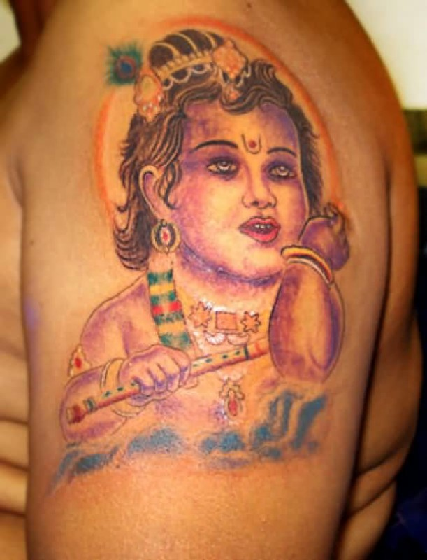 Sweet Upper Sleeve Simple Hinduism Krishana Face Tattoo