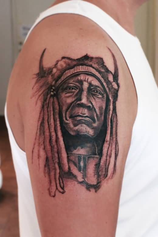 Terrific Upper Sleeve Cool Indian Face Tattoo Image Make On Upper Sleeve