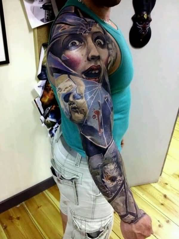 Ultimate Full Sleeve Surprise Horror Face Tattoo For Cool Men