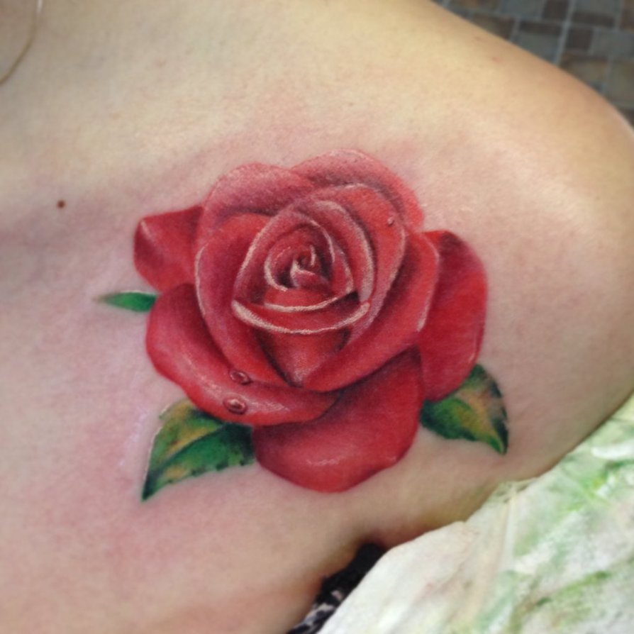 Ultimate Nice Looking Red Rose Tattoo Design Make On Collarbone