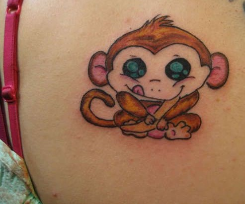 Upper Back Amazing Funniest Monkey Tattoo Design For Women