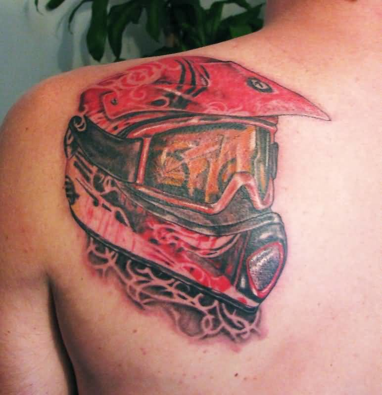 Upper Side Back Amazing 3D Helmet Tattoo Design