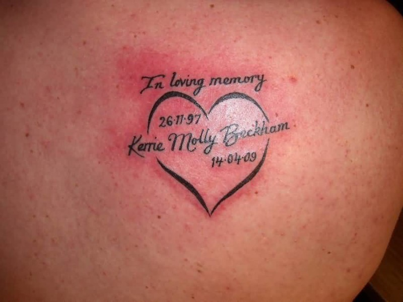 Upper Side Back Decorated With Outstanding Heart Tattoo Design With Memorable Text