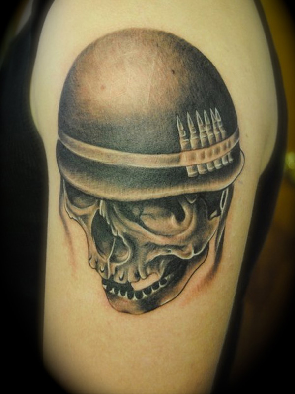 Upper Sleeve Cover Up With Angry Open Mouth Military Skull Tattoo