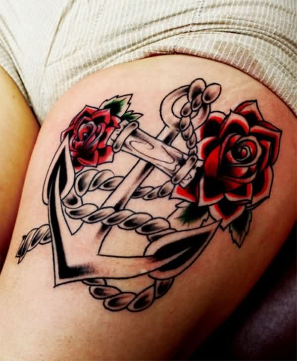 Women Thigh Cover Up With Outstanding Red Roses And Anchor Tattoo Design