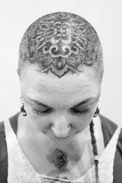 Women Top Of Head Cover  Up With Black And White Ink Mandala Tattoo