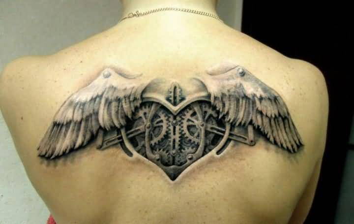 Women Upper Back Cover Up With Gear Parts Heart Tattoo Design Image