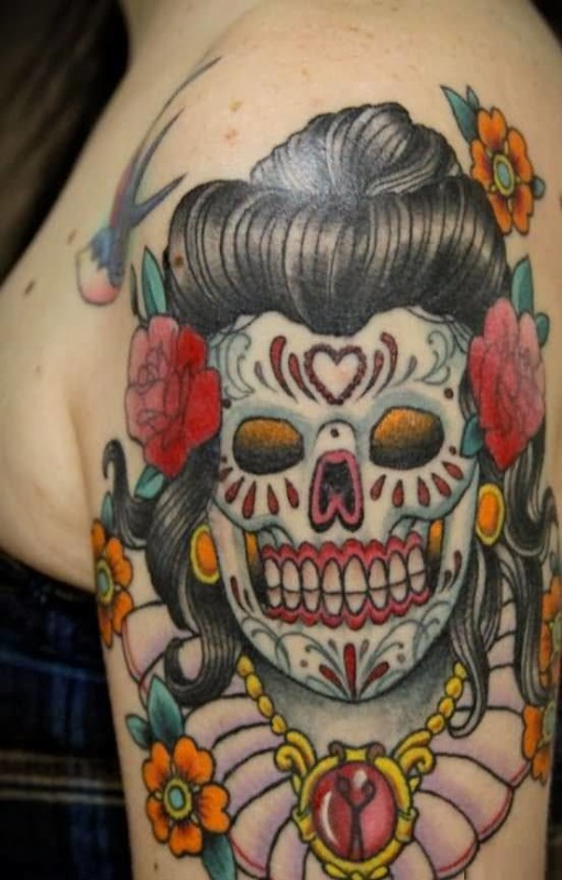 Women Upper Sleeve Cover Up With White Skull Head Tattoo Design Image