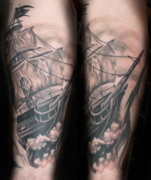 Wonderful Classy Prate Ship Tattoo Design Cool Image