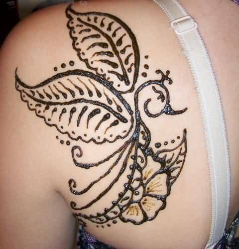 Wonderful Upper Side Back Lovely Henna Tattoo Design For Cool Young Women