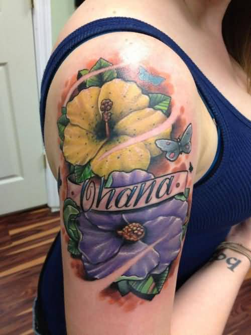 Young Girl Upper Sleeve Decorated With Brilliant Ohana Banner And Coolest Flying Butterfly Design With Hibiscus Flower Tattoo