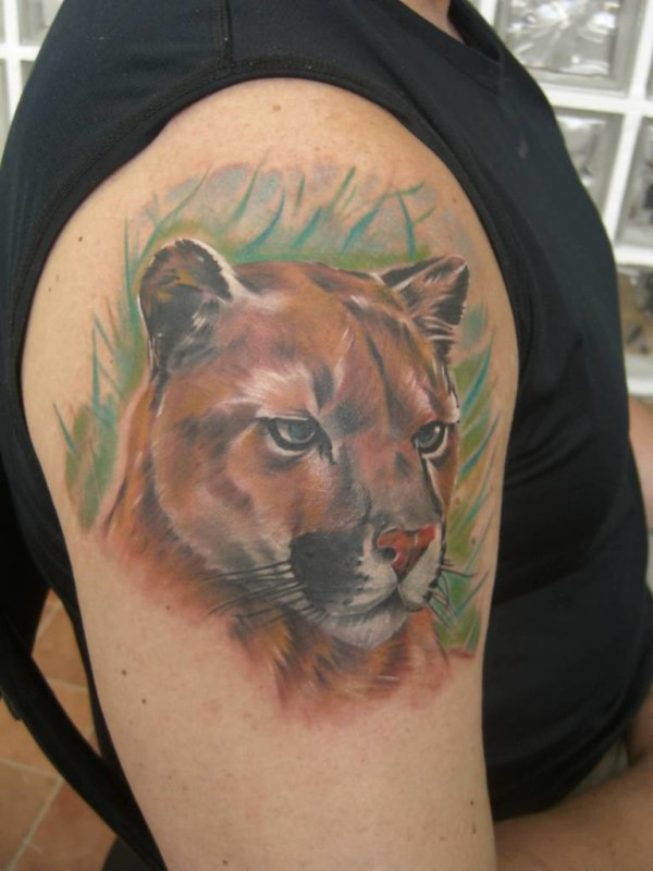 3D Nice One Realistic Puma Cover Up Shoulder Tattoo