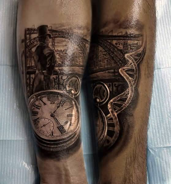 3D Realistic Pocket Clock Tattoo Design