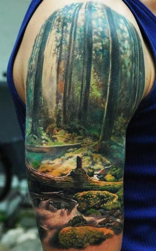 3D Ultimate Forest Tattoo Of Realistic Scenery